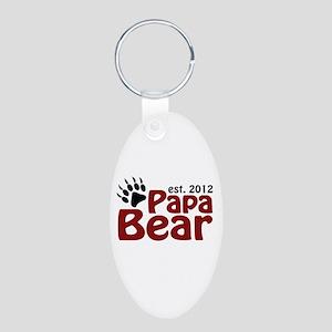 Papa Bear Claw Est 2012 Aluminum Oval Keychain