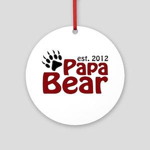 Papa Bear Claw Est 2012 Ornament (Round)