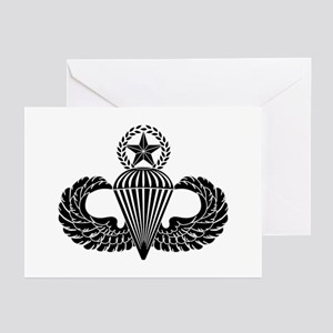 Master parachutist -- B-W Greeting Cards (Pk of 10