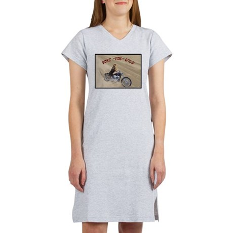 Rottweiler on Motorcycle wome Women's Nightshirt