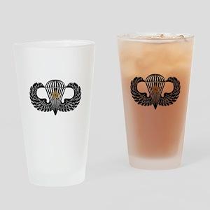 Combat Parachutist 1st -- B-W Drinking Glass