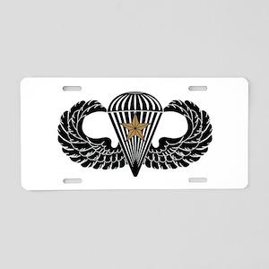 Combat Parachutist 1st -- B-W Aluminum License Pla