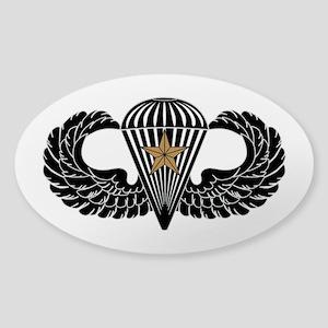 Combat Parachutist 1st -- B-W Sticker (Oval)
