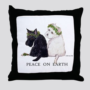 Scottish Terrier Westie Xmas Throw Pillow