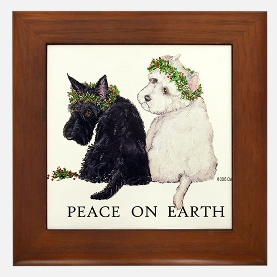 Scottish Terrier Westie Xmas Framed Tile