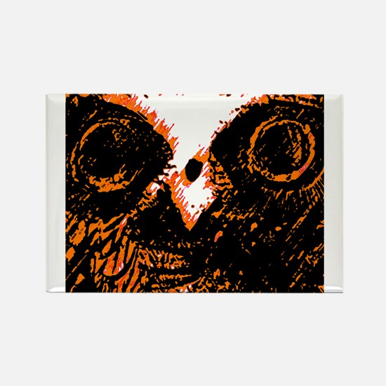 Orange Owl Art Rectangle Magnet (10 pack)
