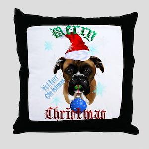 Wonderful-Christmas Boxer Dog Throw Pillow