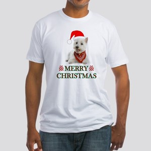 Westie Christmas W/Candy Cane Fitted T-Shirt