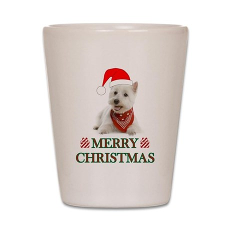 Westie Christmas W/Candy Cane Shot Glass
