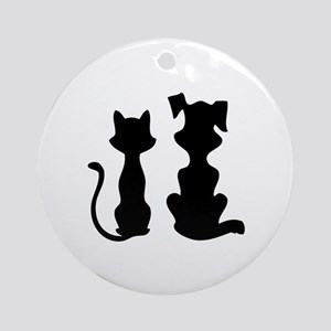 Cat & dog Ornament (Round)