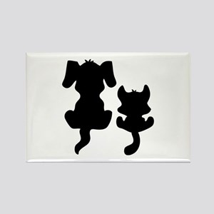 Little cat & dog Rectangle Magnet