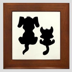 Little cat & dog Framed Tile