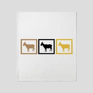 Goat Squares Throw Blanket