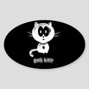goth kitty Sticker (Oval)