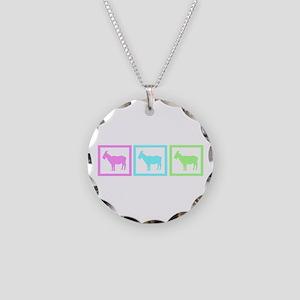 Goat Squares Necklace Circle Charm