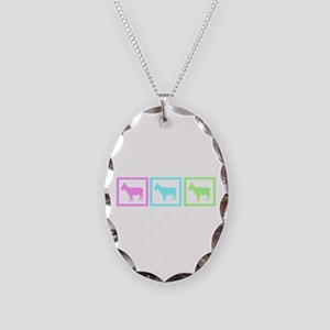 Goat Squares Necklace Oval Charm