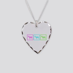 Goat Squares Necklace Heart Charm