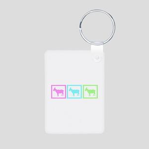 Goat Squares Aluminum Photo Keychain