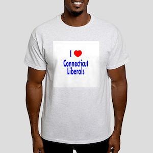I Love Connecticut Liberals Ash Grey T-Shirt