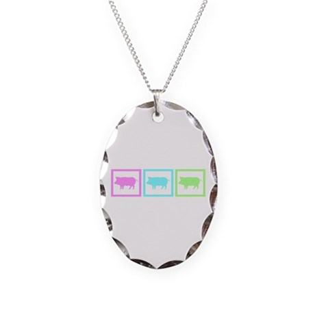 Pig Squares Necklace Oval Charm