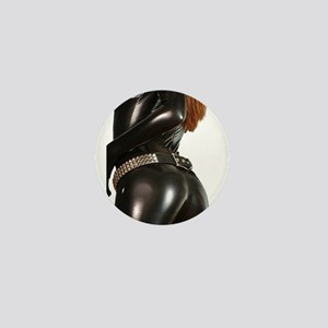 Girl In Black Catsuit Mini Button