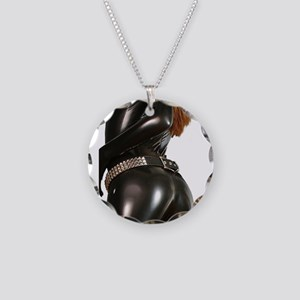 Girl In Black Catsuit Necklace Circle Charm