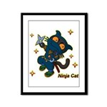 Ninja cat Framed Panel Print