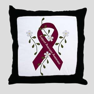 Aneurysm Awareness Ribbon Throw Pillow