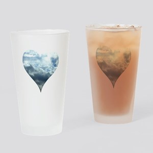 Blue Sky Heart Drinking Glass