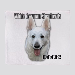 White German Shepherds Rock Throw Blanket