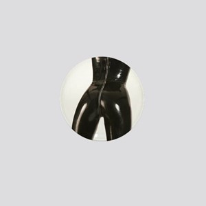 Girl In Black Rubber Mini Button