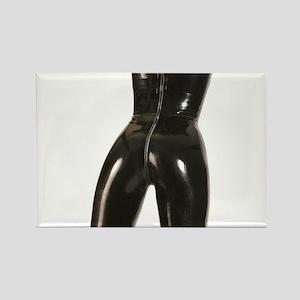 Girl In Black Rubber Rectangle Magnet