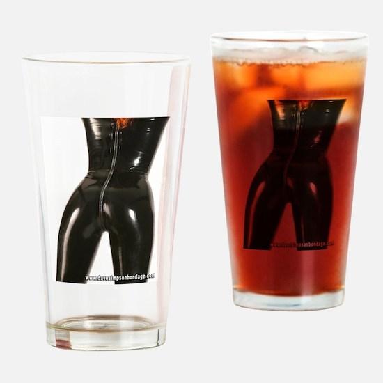 Girl In Black Rubber Drinking Glass