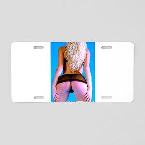 Girl In Very Short Skirt Aluminum License Plate