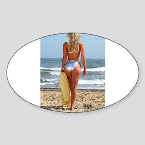 Girl On Beach Sticker (Oval)