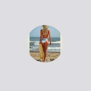 Girl On Beach Mini Button