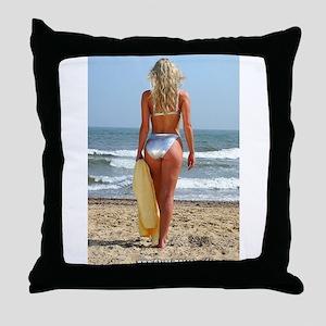 Girl On Beach Throw Pillow