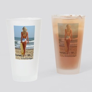 Girl On Beach Drinking Glass
