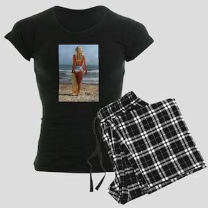 Girl On Beach Women's Dark Pajamas