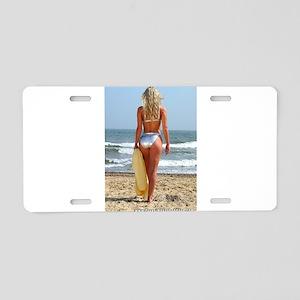 Girl On Beach Aluminum License Plate