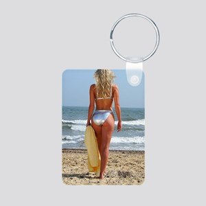 Girl On Beach Aluminum Photo Keychain
