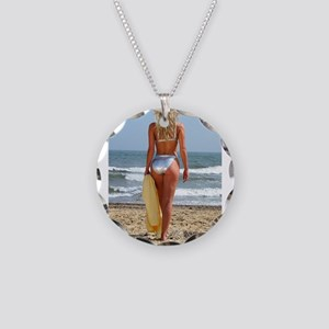 Girl On Beach Necklace Circle Charm