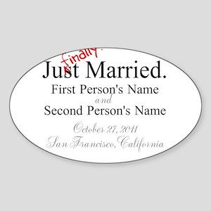 Finally Married Oval Sticker