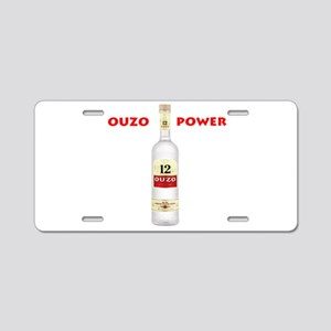 Ouzo Power Aluminum License Plate
