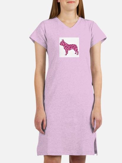 Pink Leopard Frenchie Women's Nightshirt
