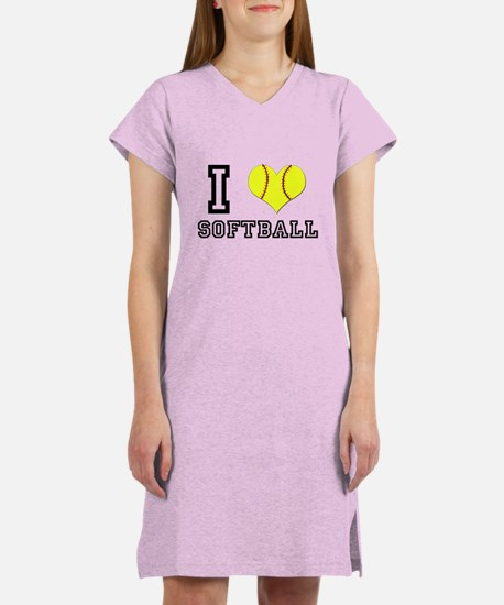 I Heart (Love) Softball Women's Nightshirt