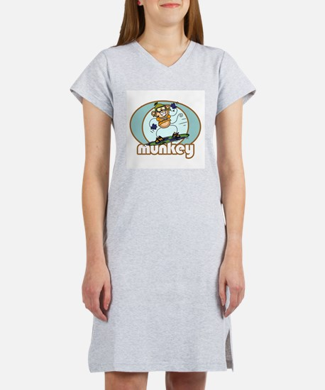 Snow Munkey Monkey Women's Pink Nightshirt