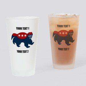 Patriotic Honey Badger Drinking Glass