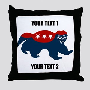 Patriotic Honey Badger Throw Pillow