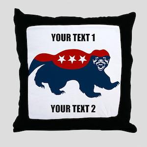 Patriotic Honey Badger Throw Pillow